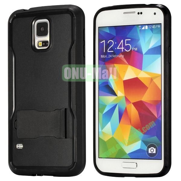 Mix Color Hybrid PC and TPU Case with Kickstand for Samsung Galaxy S5 (Black)