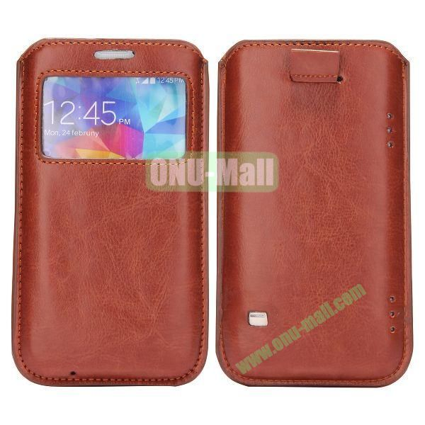 Fashion Pull Up Leather Pouch with Caller Display  for Samsung Galaxy S5  I9600 (Brown)