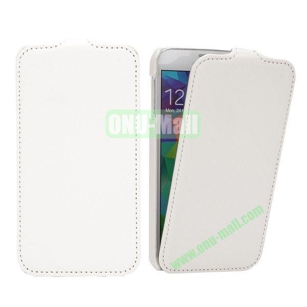 Litchi Pattern Vertical Flip Leather Case for Samsung Galaxy S5  I9600 (White)