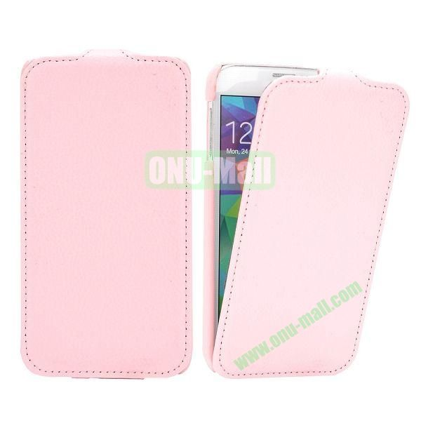 Litchi Pattern Vertical Flip Leather Case for Samsung Galaxy S5  I9600 (Pink)
