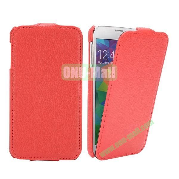 Litchi Pattern Vertical Flip Leather Case for Samsung Galaxy S5  I9600 (Red)