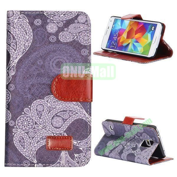 Floral Pattern Retro Style Flip Stand Leather Case with Card Slots and Magnetic for Samsung Galaxy S5  I9600