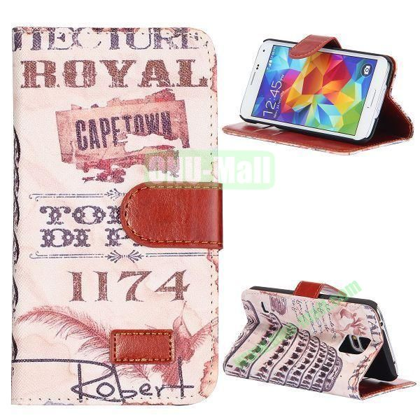 Leaning Tower of Pisa Pattern Retro Style Flip Stand Leather Case with Card Slots and Magnetic for Samsung Galaxy S5  I9600