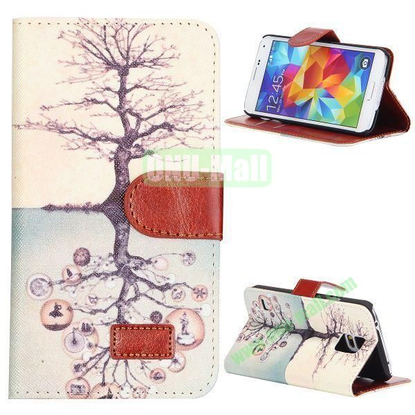 Tree Pattern Retro Style Flip Stand Leather Case with Card Slots and Magnetic for Samsung Galaxy S5  I9600