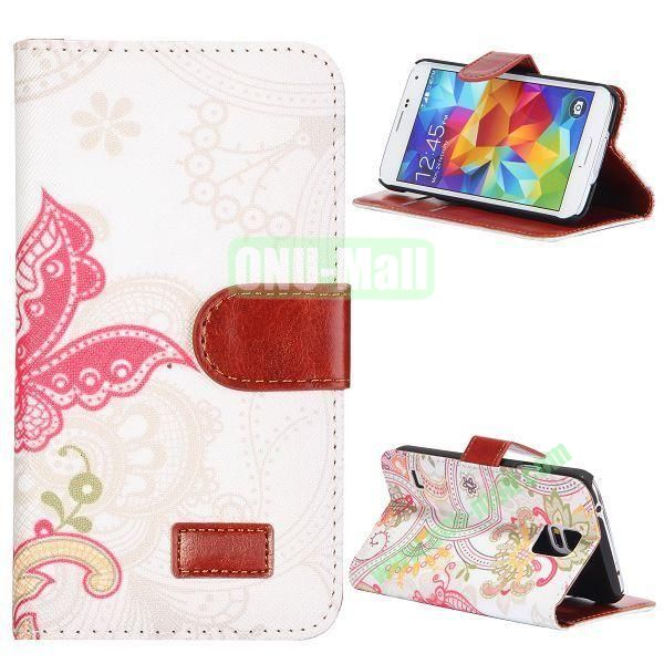 Beautiful Floral Pattern Retro Style Flip Stand Leather Case with Card Slots and Magnetic for Samsung Galaxy S5  I9600