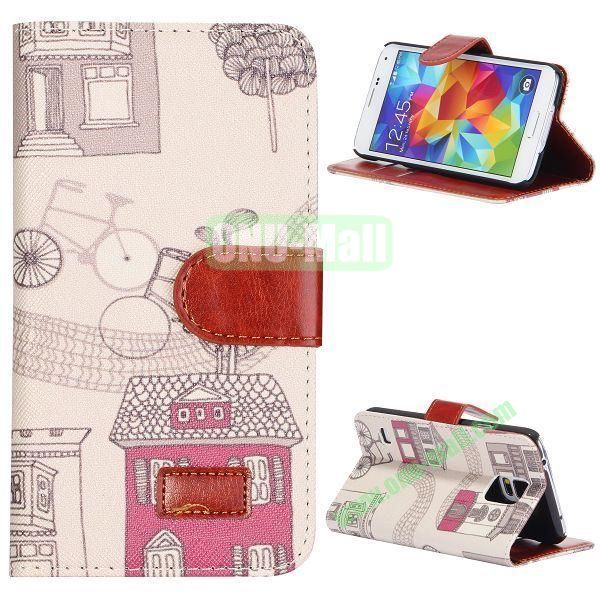 House and Bicycle Pattern Retro Style Flip Stand Leather Case with Card Slots and Magnetic for Samsung Galaxy S5  I9600