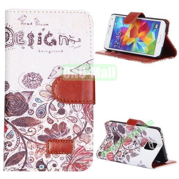 Blossom Flower Design Pattern Retro Style Flip Stand Leather Case with Card Slots and Magnetic for Samsung Galaxy S5  I9600