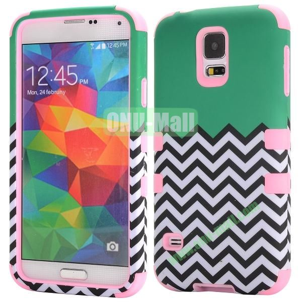 Three in One Pattern Waves Design Detachable Silicone and PC Hard Protective Hybrid Case for Samsung Galaxy S5 I9600 (Pink)