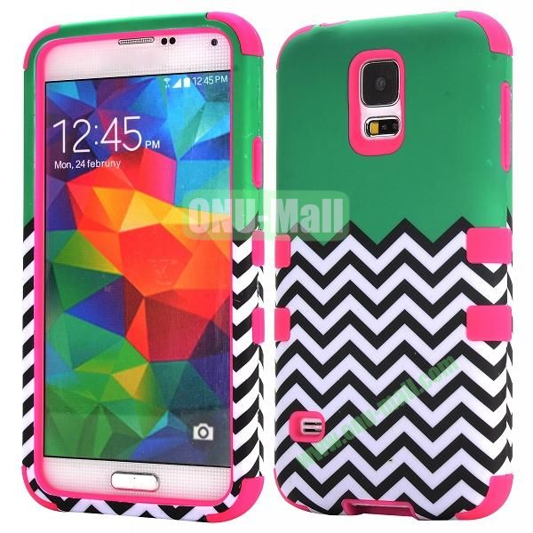 Three in One Pattern Waves Design Detachable Silicone and PC Hard Protective Hybrid Case for Samsung Galaxy S5 I9600 (Rose)