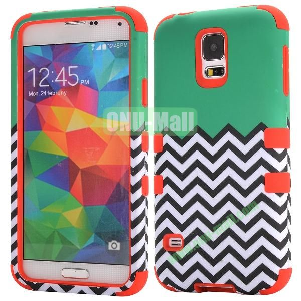 Three in One Pattern Waves Design Detachable Silicone and PC Hard Protective Hybrid Case for Samsung Galaxy S5 I9600 (Red)