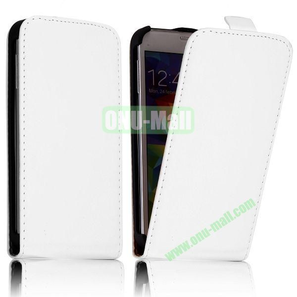 Classic Style Vertical Flip Magnetic Leather Case for Samsung I9600 Galaxy S5  G900 (White)