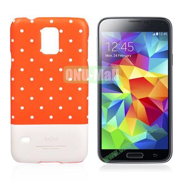 Kajsa Polka Dots Pattern Two Color Luminous Hard Case for Samsung Galaxy S5  I9600 (Orange+White)