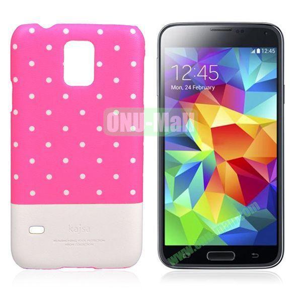 Kajsa Polka Dots Pattern Two Color Luminous Hard Case for Samsung Galaxy S5  I9600 (Rose+White)