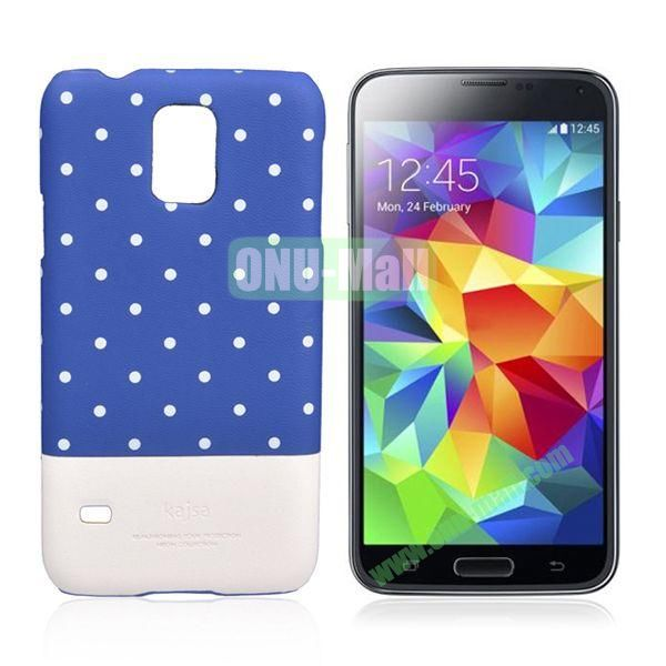 Kajsa Polka Dots Pattern Two Color Luminous Hard Case for Samsung Galaxy S5  I9600 (Blue+White)