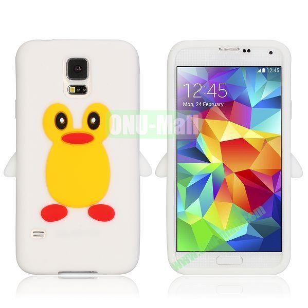 3D Cartoon Penguin Pattern Silicon Case for Samsung Galaxy S5  I9600 (White)