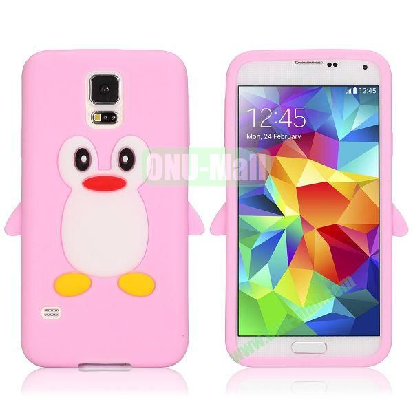 3D Cartoon Penguin Pattern Silicon Case for Samsung Galaxy S5  I9600 (Pink)