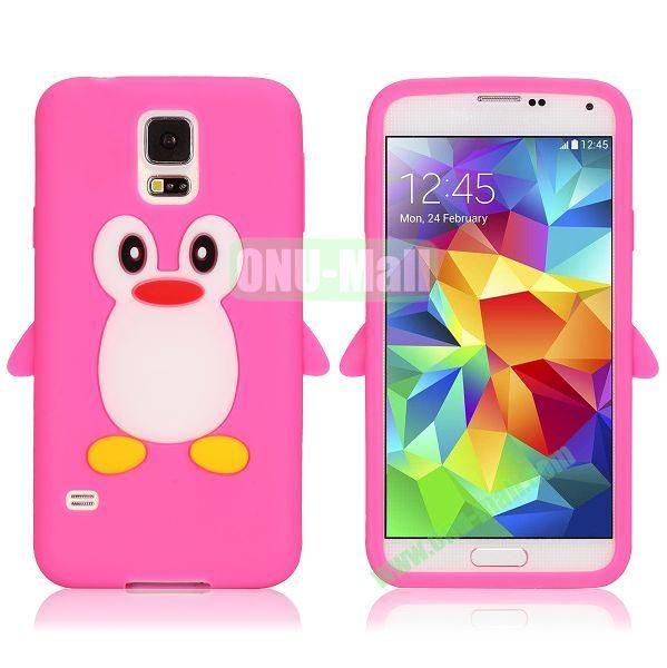 3D Cartoon Penguin Pattern Silicon Case for Samsung Galaxy S5  I9600 (Rose)