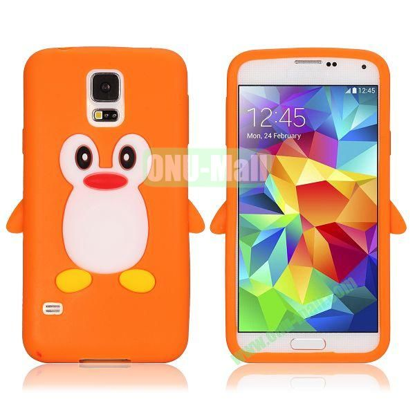 3D Cartoon Penguin Pattern Silicon Case for Samsung Galaxy S5  I9600 (Orange)