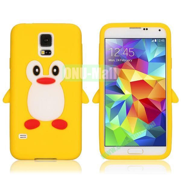 3D Cartoon Penguin Pattern Silicon Case for Samsung Galaxy S5  I9600 (Yellow)