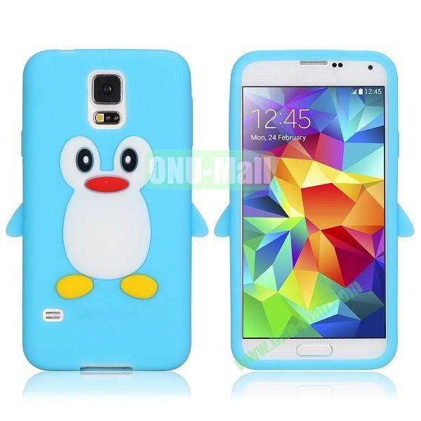 3D Cartoon Penguin Pattern Silicon Case for Samsung Galaxy S5  I9600 (Light Blue)