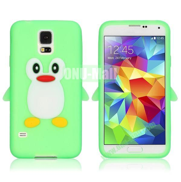 3D Cartoon Penguin Pattern Silicon Case for Samsung Galaxy S5  I9600 (Green)