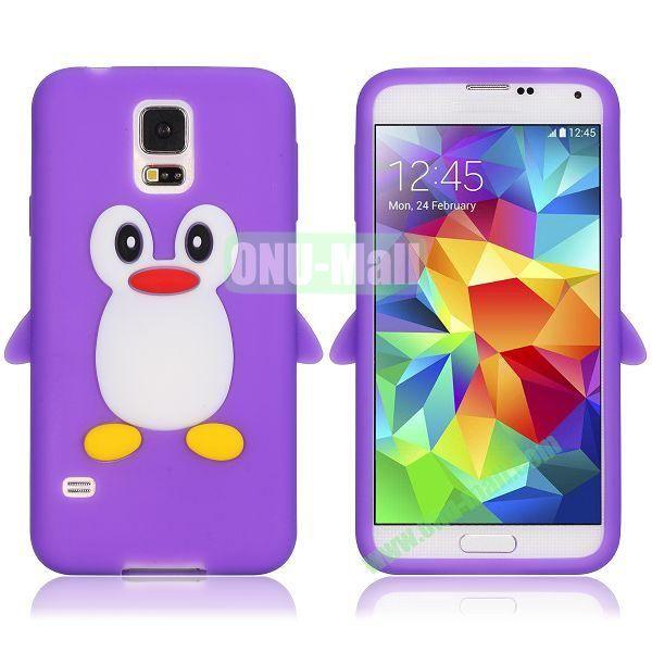 3D Cartoon Penguin Pattern Silicon Case for Samsung Galaxy S5  I9600 (Purple)