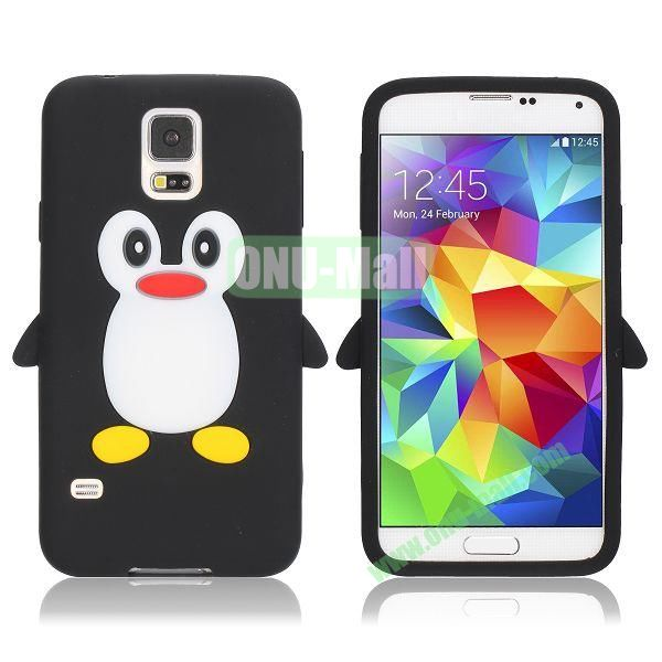 3D Cartoon Penguin Pattern Silicon Case for Samsung Galaxy S5  I9600 (Black)