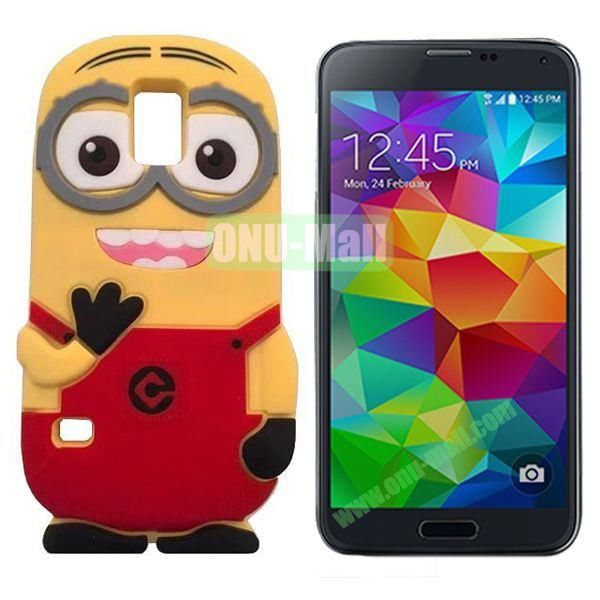 3D Cute Minions Design Silicone Back Case for Samsung Galaxy S5  I9600 (Red)