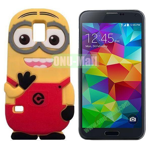 3D Cute Minions Design Silicone Back Case for Samsung Galaxy S5  I9600 (Rose)