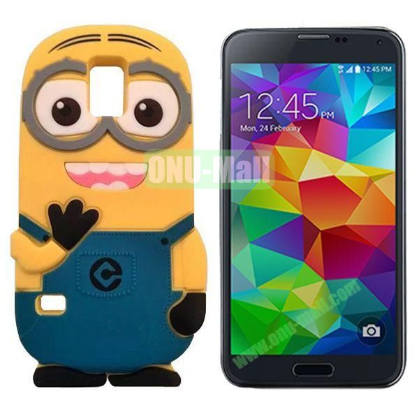 3D Cute Minions Design Silicone Back Case for Samsung Galaxy S5  I9600 (Blue)