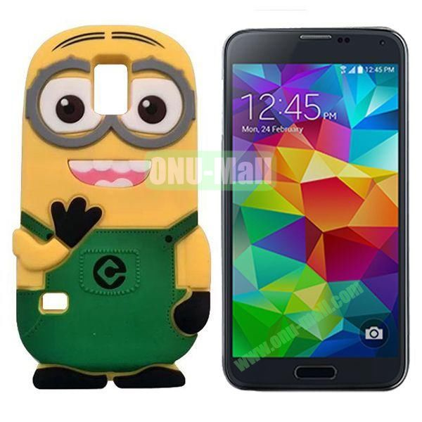 3D Cute Minions Design Silicone Back Case for Samsung Galaxy S5  I9600 (Green)