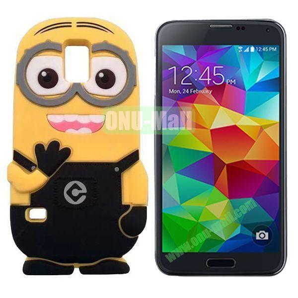3D Cute Minions Design Silicone Back Case for Samsung Galaxy S5  I9600 (Black)
