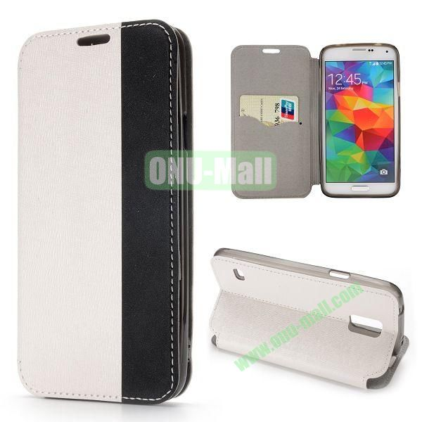 Dual-color Cross Pattern Flip Stand PU Leather Case for Samsung Galaxy S5 I9600 G900 (White+Black)