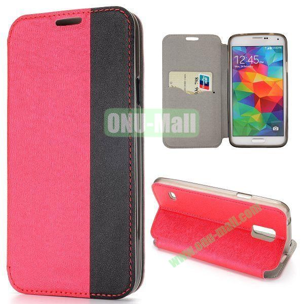 Dual-color Cross Pattern Flip Stand PU Leather Case for Samsung Galaxy S5 I9600 G900 (Red+Black)