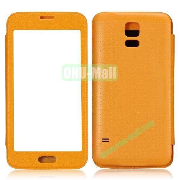 Fashion Screen Display Leather Case for Samsung Galaxy S5  I9600 (Yellow)