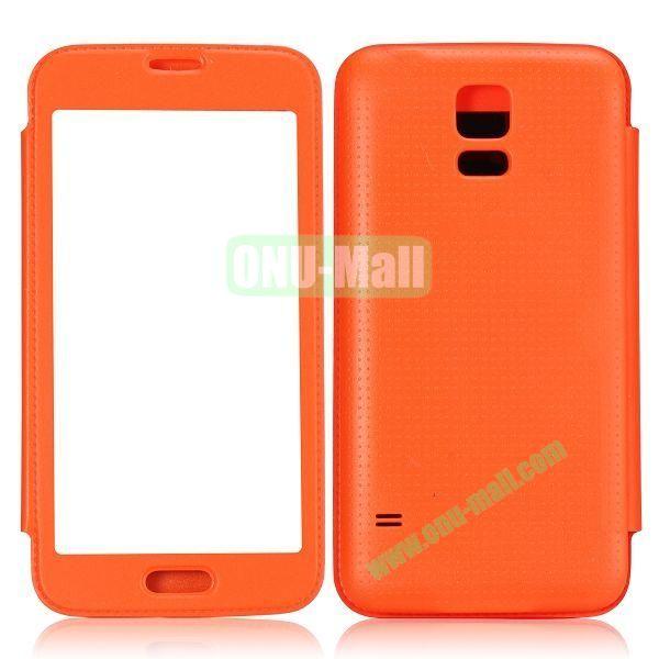 Fashion Screen Display Leather Case for Samsung Galaxy S5  I9600 (Orange)