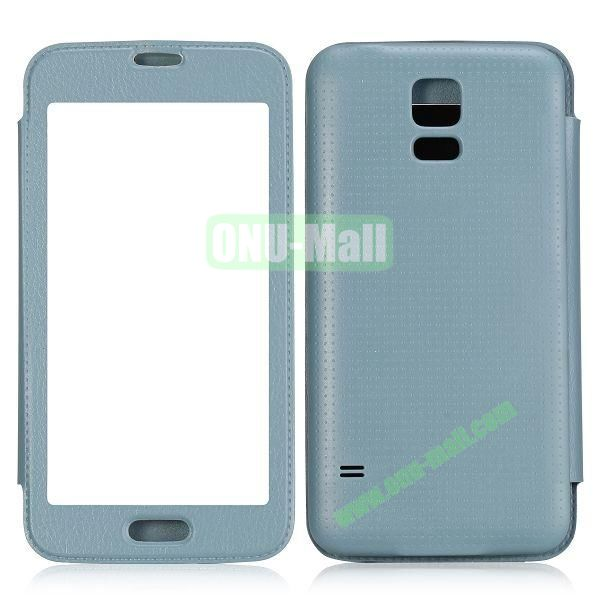 Fashion Screen Display Leather Case for Samsung Galaxy S5  I9600 (Light Blue)