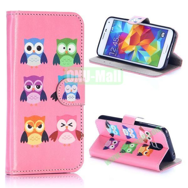 Owl Series Wallet Style Flip Leather Case for Samsung Galaxy S5 I9600 with Credit Card and Slots (Six Owls)