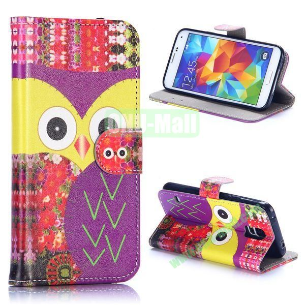 Owl Series Wallet Style Flip Leather Case for Samsung Galaxy S5 I9600 with Credit Card and Slots (Big Face Owl)