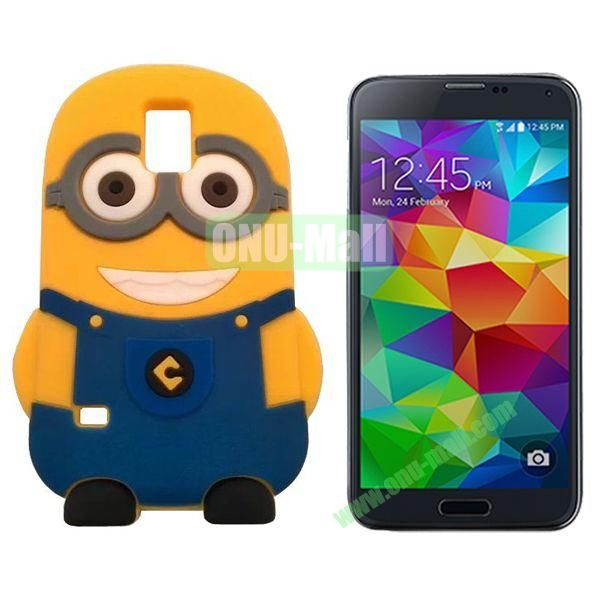 3D Cartoon Minions Design Silicon Case for Samsung Galaxy S5  I9600 (Dark Blue)