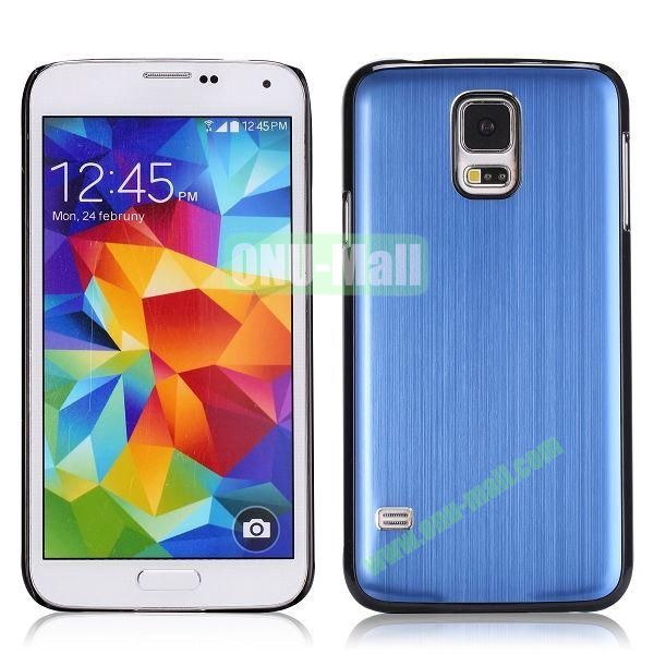 Glossy Brushed Aluminum Protective Hard Case for Samsung Galaxy S5 I9600 G900 (Dark Blue)
