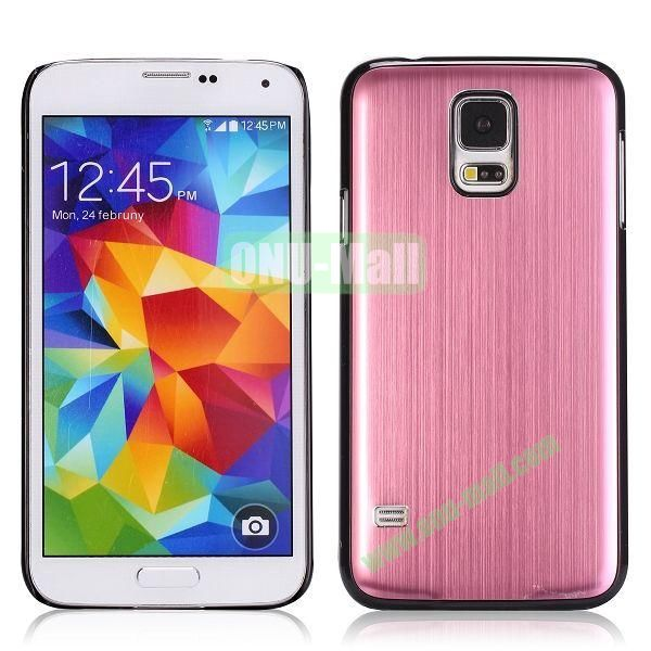 Glossy Brushed Aluminum Protective Hard Case for Samsung Galaxy S5 I9600 G900 (Pink)