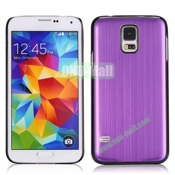 Glossy Brushed Aluminum Protective Hard Case for Samsung Galaxy S5 I9600 G900 (Purple)