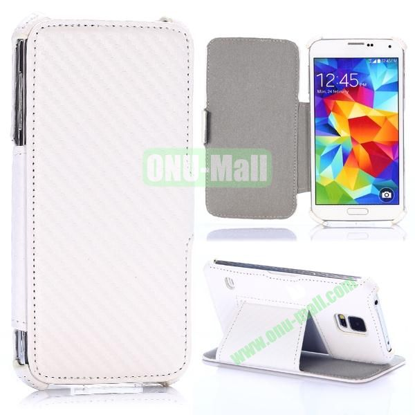 Carbon Fiber Pattern Flip Leather Case for Samsung Galaxy S5 I9600 G900 (White)