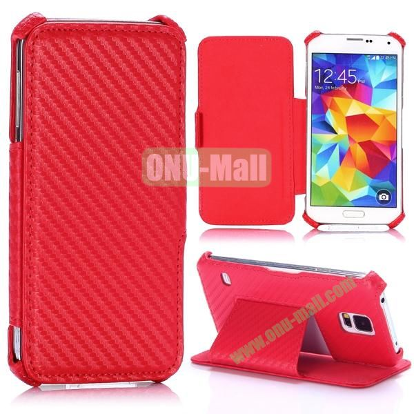 Carbon Fiber Pattern Flip Leather Case for Samsung Galaxy S5 I9600 G900 (Red)