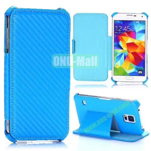 Carbon Fiber Pattern Flip Leather Case for Samsung Galaxy S5 I9600 G900 (Blue)