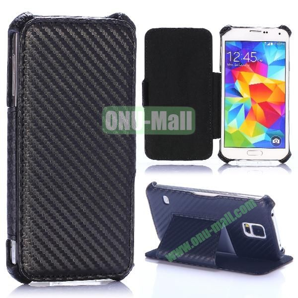 Carbon Fiber Pattern Flip Leather Case for Samsung Galaxy S5 I9600 G900 (Black)