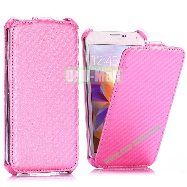 Carbon Fiber Pattern Vertical Flip Leather Case for Samsung Galaxy S5 I9600 G900 (Pink)