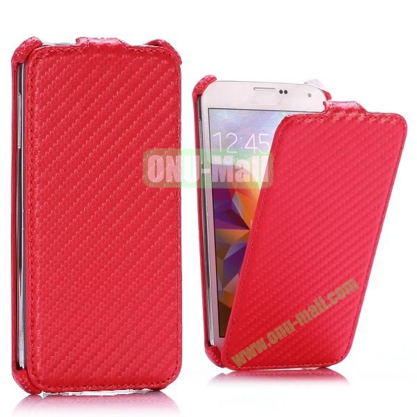 Carbon Fiber Pattern Vertical Flip Leather Case for Samsung Galaxy S5 I9600 G900 (Red)