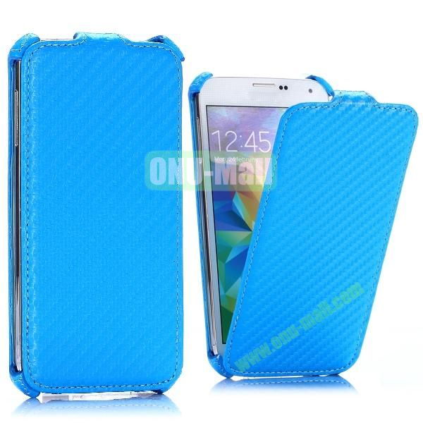 Carbon Fiber Pattern Vertical Flip Leather Case for Samsung Galaxy S5 I9600 G900 (Blue)